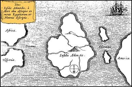 Athanasius Kircher's Map of Atlantis in the Atlantic Ocean (1669)