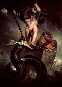 Thor battering the Midgard Serpent - Johann Heinrich Fussli