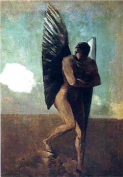 Fallen Angel Looking at at Cloud - Odilon Redon