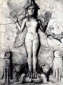 Sumerian Lilith, terra-cotta relief, ca 2000 BCE