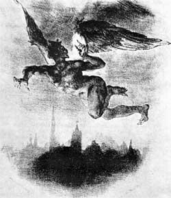 Mephistopheles Over Wittenberg (From Goethe's Faust) - Eugene Delacroix