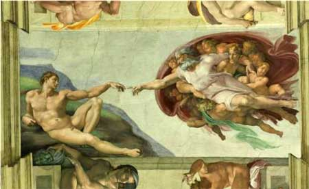 Sistine Chapel Ceiling: Creation of Adam - Michelangelo