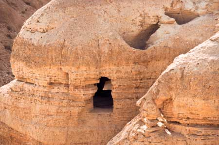 Cave 4 at Qumran, Israel, where 15,000 fragments from over 200 books were found.