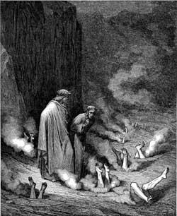 Dante addresses Pope Nicholas III - Gustave Dore