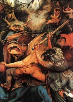 Demons Armed with Sticks (detail from the Isenheim Altarpiece) - Matthias Grünewald