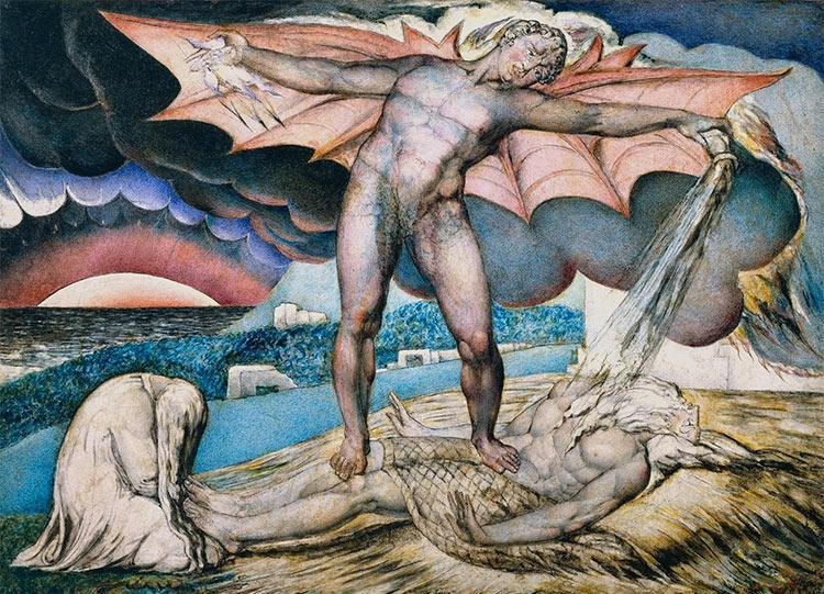 Satan smiting Job with boils - William Blake